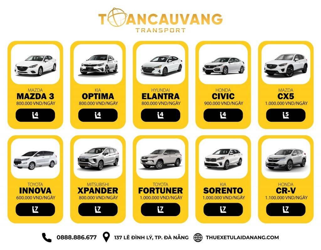 Bảng giá thuê xe tự lái Đà Nẵng